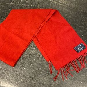 VINTAGE COACH RED SCARF WITH FRINGE cashmere